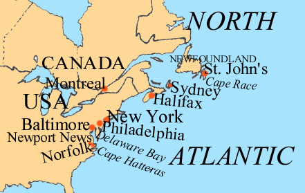 Map of Eastern Seaboard