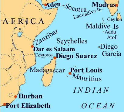 Map Indian Ocean South