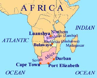 Map South Africa and N. Rhodesia